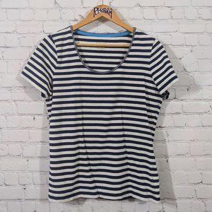 💎 Liz Claiborne Striped Tee Navy/White L